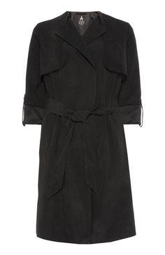 Black Roll Sleeve Wrap Mac Coat