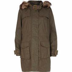 Khaki waxed faux fur trim parka jacket - River Island price: £70.00