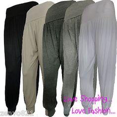 Girls Harem Ali Baba Full Length Pants Womens Black Long Genie Leggings Trousers | eBay