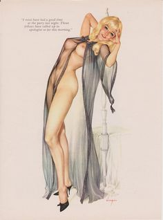 "Blonde Pinup Girl in Sheer Gown | Tattoo Ideas & Inspiration - Pinups | Sheer Gown Vintage Vargas Nude Pin Up Girl Playboy Picture. ""I must have had a good time at the party last night. Three fellows have called up to apologize so far this morning"""