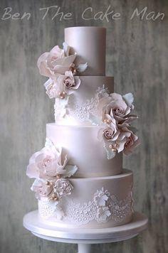 Pink Wedding Cakes Ben the Cake Man Wedding Cake Inspiration - Ben the Cake Man Wedding Cake Inspiration Elegant Wedding Cakes, Elegant Cakes, Beautiful Wedding Cakes, Gorgeous Cakes, Wedding Cake Designs, Pretty Cakes, Lace Wedding Cakes, Wedding Cake Inspiration, Wedding Ideas