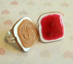 wickedclothes:    Peanut Butter and Jelly BFF Rings  You're the PB to my J~~  Sold on Etsy.