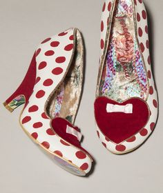 Irregular Choice white and red Dotty Love Heels