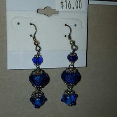 Cobalt Blue Dangle earrings One of a kind lampwork glass beads, rondelle beads and silver findings. Handmade. Handmade Jewelry Earrings