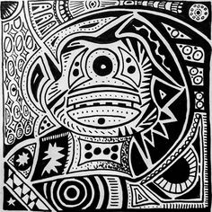 I started late so can do two in one day.  Post 3: the cyclops monkey #inktober #markerpen #ink #drawing #design #art #rooker #pattern #Kenya #scifiart