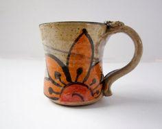 Ceramic Coffee Mug Cup Orange Sunflower by ClayLickCreekPottery, $24.00
