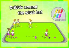 • Dribble around the witch hat • An easy and fun soccer relay race idea - Dribble up to the big (witch hat) cone using SMALL TOUCHES, then dribble AROUND it once, then up to the end cone and then back to the start again. We've got 25 awesome sport race variations for you to check out.
