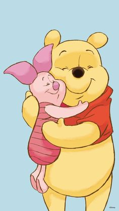 Piglet and Winnie the Pooh hugging