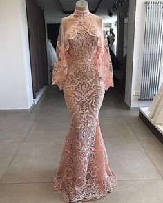 High Neck Lace Pageant Dress Evening Gown With Cape - pageant dresses Pink Evening Dress, Evening Dresses, Prom Dresses, Formal Dresses, Elegant Dresses, Pretty Dresses, Mode Outfits, African Dress, Look Fashion