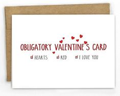 Funny Valentine's Day card: Obligatory Card by Cypress Card Co. on Etsy