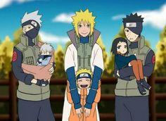 Kakashi, Minato, Obito and his children's. Oh my... Obito's fan concept child is cute.
