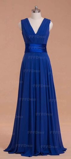 Royal blue bridesmaid dresses long with slit
