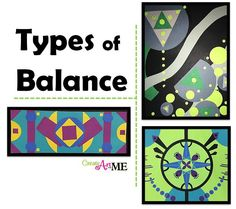 Types of Balance Art Lesson-Learn about symmetrical, asymmetrical and radial balanced used in art. Lesson and balance sketchbook assignment. Balance in art is the equal distribution of visual weight in a composition Types Of Balance, Balance Art, Radial Balance, Balance Design, Art Lessons For Kids, Art Lessons Elementary, Elements And Principles, Art Elements, Principles Of Art Balance