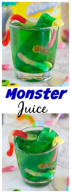 Monster Juice – a kid friendly drink just in time for Halloween. Use Popsicles to make it fun and festive!