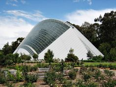 Bicentennial Conservatory in Adelaide, Australia built in celebration of Australia's 1988 Bicentenary. Designed by South Australian architect, Guy Maron, it is the largest single span conservatory in the southern hemisphere. It is curvilinear in shape; 100 metres long, 47 metres wide & 27 metres high. An elegant steel superstructure supports the 2,434 m2 of toughened glass which forms the roof, walls & doors.