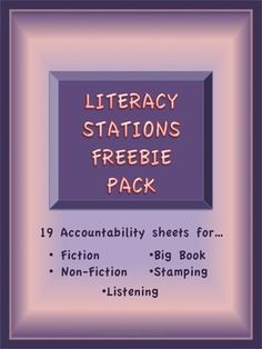 Literacy Station / Center Freebies Pack- 19 stations sheets for 5 different stations!