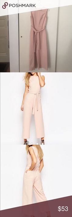 ASOS - Blush Jumpsuit With Tie Waist & Culotte Leg Blush jumpsuit. Worn only once! Pockets in back, zipper in back. Ties at waist. 89% polyester, 11% elastane. ASOS Pants Jumpsuits & Rompers