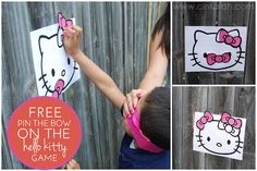 Cinsarah: FREE Pin The Bow On The Hello Kitty Game-use different colors for the bows Hello Kitty Games, Hello Kitty Theme Party, Kitty Party Games, Hello Kitty Birthday, Cat Party, 4th Birthday Parties, 2nd Birthday, Birthday Ideas, Monkey Birthday