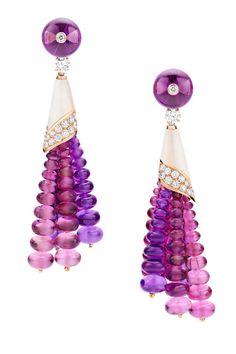 Bulgari rubellite, diamond, and pink tourmaline earrings, 800-BULGARI.