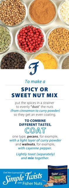 A Simple Tip with Fisher Nuts from Jones Jones Guarnaschelli Jones Jones, Alex Jones, Iron Chef, Mixed Nuts, Curry Powder, Yummy Snacks, Food Hacks, Food Network Recipes, Pecan