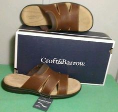 Mens Croft & Barrow Sandals sz 8 Memory Foam Support Brown Leather Shoes Casual New Listing! Also available in size 13