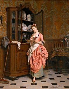 Metzmacher, Emile Pierre (b,1815)- Woman Standing w Flower