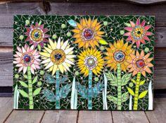 Zany daisies mixed media mosaic outdoor wall art by 22mosaics