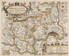 NORDEN, John. Middlesex. Olima Trinoban Tibus habitata. 1610. #antique #london Vintage Maps, Antique Maps, Early World Maps, Hellenistic Period, Classical Antiquity, Old Maps, Cartography, Old Things, Fantasy