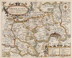 NORDEN, John. Middlesex. Olima Trinoban Tibus habitata. 1610. #antique #london