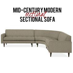 This gray three piece compact corner sectional offers a sophisticated style with its button tufting, precise welting, tapered legs and structured cushions for comfort. It uses Tatum fabric upholstery for its soft feel, durability and appealing texture. Corner Sectional, Sectional Sofa, Couch, Mid Century Modern Sofa, Mid Century Modern Furniture, Sophisticated Style, Sofa Furniture, Contemporary Furniture, Interior Styling