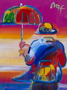 """Works on Paper (not prints) """"Umbrella Man"""" by Peter Max"""