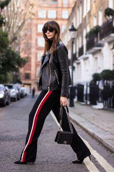 OOTD, Leather biker jacket, black Chanel Boy bag, Zara side stripe wide leg trousers, London street style 2015. Fashion Blogger - Emma Hill - EJSTYLE