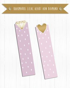 Printable Dividers, Bookmarks Pink and Gold Heart and Diamond (Kikki Style) for…