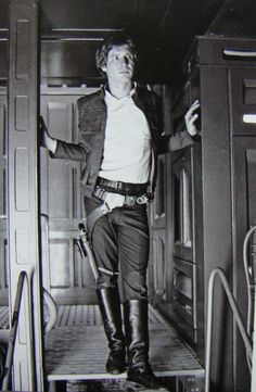 Harrison Ford on the set of Star Wars.