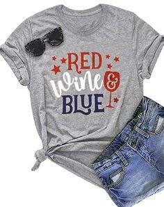 1ddea1e1 Amazon.com: Red Wine Blue T Shirt Women Letter Print Patriotic USA Pride Tee