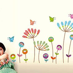 Wall Stickers Wall Decals, Butterfly Flower PVC Wall Stickers 2016 - $8.99