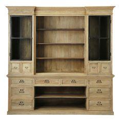 Bücherregal aus Mangoholz, B 235cm Naturaliste
