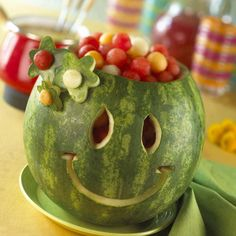 Watermelon Melon Party Bowl!  Have experience carving pumpkins? Why not try carving a watermelon? Scoop out melon balls from different melons (and the watermelon itself), and fill up the carved watermelon to have a sustainable awesome melon bowl.