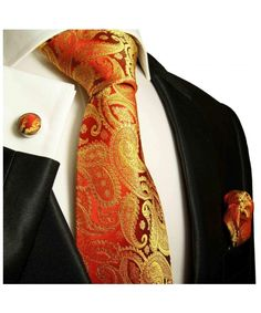 Shop Red & Gold Paisley Paul Malone Silk Tie Set ,Hand Made Necktie Set, Silk with matching Pocket Square and Cufflinks . Sharp Dressed Man, Well Dressed Men, Gold Silk, Red Gold, Paisley Tie, Tie And Pocket Square, Pocket Squares, Tie Set, Suit And Tie