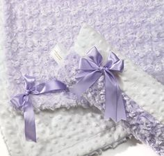 Cuddly and Luxurious. Lavender and Cream Minkie Crib Set...