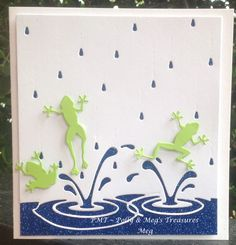 Designed and made by Meg at PMT ~ Polly & Meg's Treasures using Memory Box dies: Splashing Puddles and Pond Frogs.