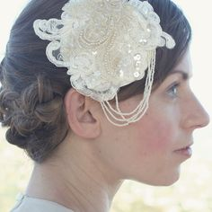 Catherine Masi designer of bridal and everyday accessories / Lace and Pearl bridal headpiece