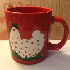 Vintage Waechtersbach Red Mug with White Hen Chicken Coffee Cup West Germany #1…