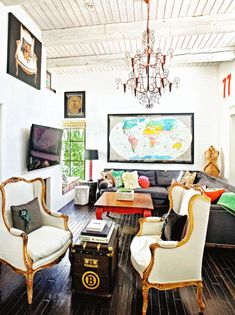 Eclectic Interior Inspiration. Not crazy about the chairs but I love the mix of styles and the casual comfort. AB
