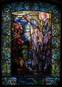 """""""Angel with Shepherds Tiffany"""" Religious Stained Glass Window Antique Stained Glass Windows, Stained Glass Church, Stained Glass Angel, Tiffany Stained Glass, Tiffany Glass, Stained Glass Designs, Leaded Glass, Chapelle, Religious Art"""