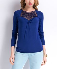 Look what I found on #zulily! Blue Mesh-Accent Sweetheart Top by SUNWEAR #zulilyfinds