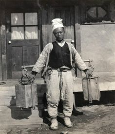 Water delivery. Early Japanese Colonial Period postcard art/photography.