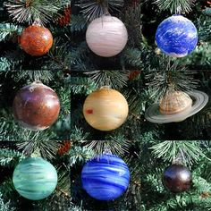 "- * Planet Ornaments * --- I'm putting this pin on my Christmas board, but truth be told, I think I'd hang them around my house all year long. Maybe in my bedroom, over the bed, or maybe turn my bathroom with my bubble bath  tub into a space/universe-themed room, so I can ""space out"" when I relax in a bath. I wonder if I could put any teeny LED bulbs inside them for dim lighting.  :3"