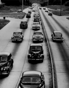 Cars lined up in a traffic jam in Roosevelt on the Southern State Parkway in 1952  Credit Newsday/Ike Eichorn