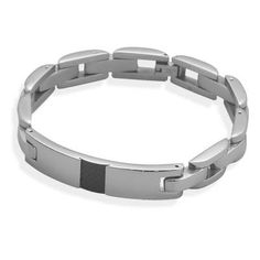 Stainless Steel Bracelet with Patterned ID Plate
